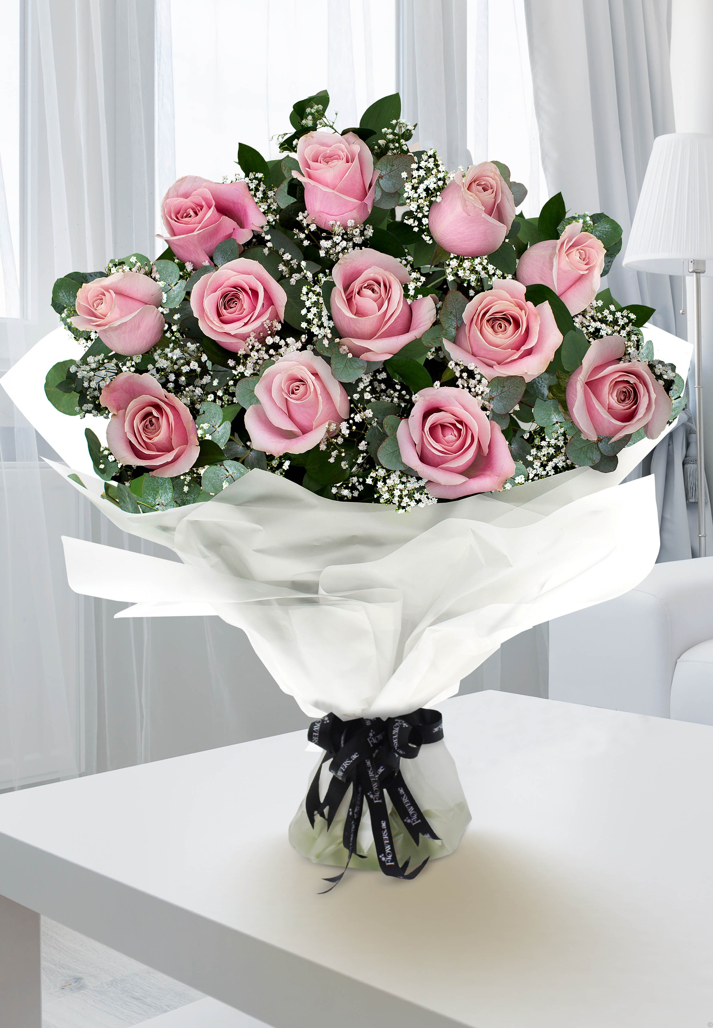 Pink 12 Rose Basket